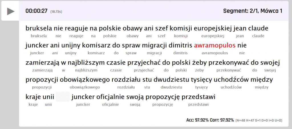 Przykład transkrypcji fragmentu programu radiowego wraz z tekstem referencyjnym